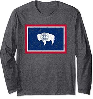 Wyoming Distressed State Flag Long Sleeve T-Shirt