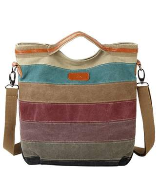 Yimidear Women's Fashion Rainbow d Canvas Shoulder Bag Large Capacity Tote Handbag Messenger Bag