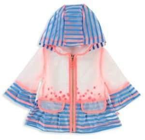 Billieblush Baby Girl's& Little Girl's Hooded Striped Raincoat