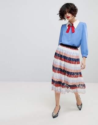 Essentiel Antwerp Palms Midi Pleated Skirt