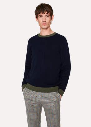 Paul Smith Men's Navy Lambswool Sweater With Contrast Trims