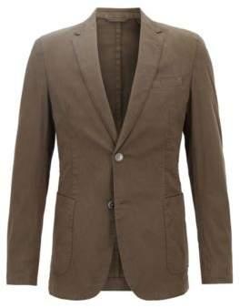 BOSS Hugo Slim-fit blazer in stretch cotton patch pockets 42R Open Green
