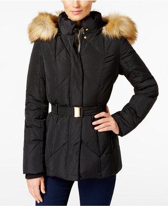 Jones New York Faux-Fur-Trim Belted Down Coat $225 thestylecure.com