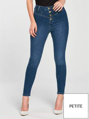 V By Very Petite Button High Waist Skinny Jean - Blue