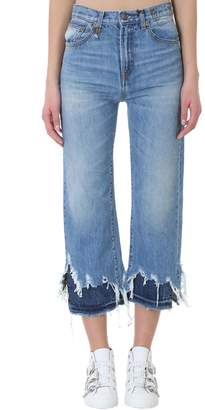 R 13 High Rose Camille W Double Blue Cotton Jeans