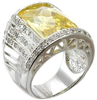 Kenneth Jay Lane CZ By Pave & Bezel Set Radiant Cut CZ Ring