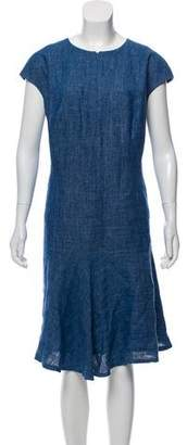 Akris Punto Cap Sleeve Chambray Midi Dress