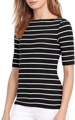 Lauren Ralph Lauren Boat Neck Stripe Tee $35 thestylecure.com