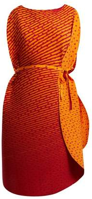Issey Miyake Pleated Cocoon Dress - Womens - Orange