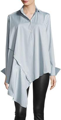 Palmer Harding palmer//harding Spicy Striped Detachable Asymmetric Cotton Shirt