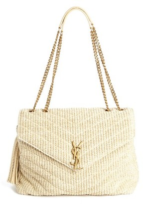 Saint Laurent Medium Monogram Straw Shoulder Bag - White $1,990 thestylecure.com
