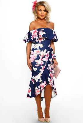 20dfdb0533e33 Pink Boutique So Senorita Multi Floral Print Bardot Frill Detail Midi Dress