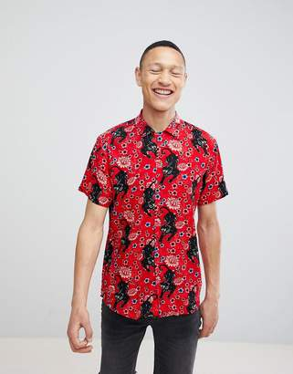 Brave Soul Short Sleeved Panther Print Shirt With Revere Collar