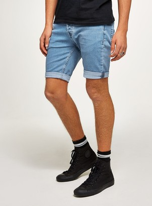 Topman Bleach Stretch Skinny Denim Shorts