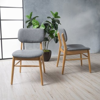 Noble House Colleen Grey Fabric with Oak Dining Chairs (Set of 2)