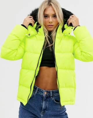 Brave Soul azelia neon puffer jacket with hood