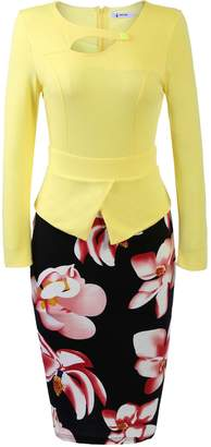 ANGVNS Women's Keyhole Neck Floral Print Cotton Peplum Bodycon Office Dress
