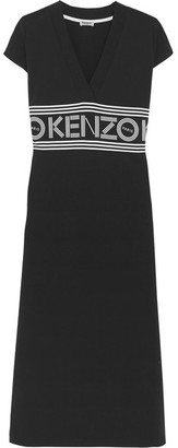 KENZO - Printed Cotton-jersey Midi Dress - Black $270 thestylecure.com