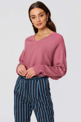 NA-KD Na Kd Short Batwing Sweater Dusty Pink