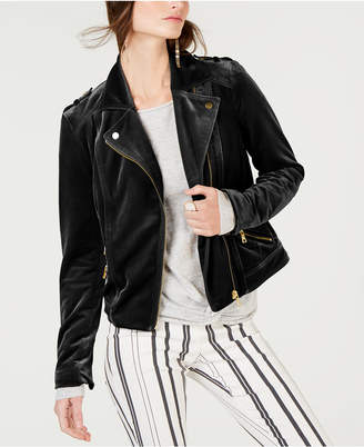 INC International Concepts I.n.c. Velvet Moto Jacket