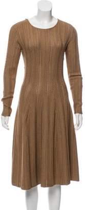 Ralph Lauren Leather-Trimmed Silk Dress w/ Tags