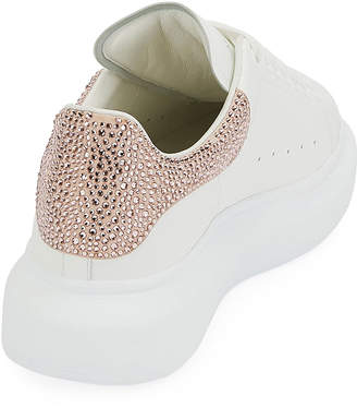 Alexander McQueen Leather Sneakers with Crystal Trim