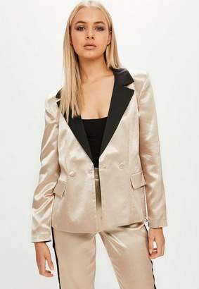 Missguided Gold Satin Tailored Button Blazer, Pink