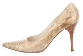 Gucci Snakeskin Pointed-Toe Pumps