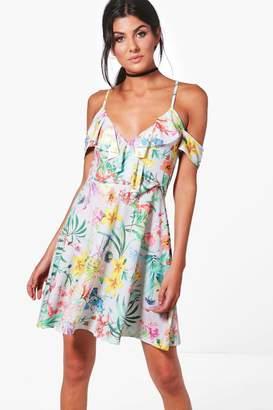 boohoo Oriental Cold Shoulder Skater Dress