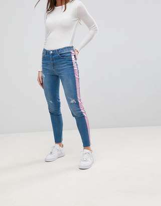 Chorus Pink Foil Side Stripe Skinny Jeans
