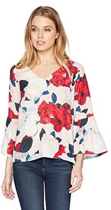 Nine West Women's Printed Amber V-Neck Blouse with Ruffled Bell Sleeve