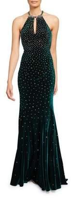 Jovani Embellished Velvet Keyhole Halter Gown
