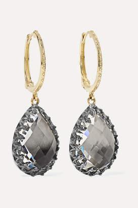 Larkspur & Hawk Lady Jane Small 14-karat Gold And Rhodium-dipped Quartz Earrings
