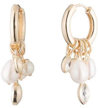 Carolee Hoop & Cultured Freshwater Pearl Cluster Drop Earrings