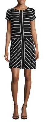 Calvin Klein Short Sleeved Block Striped Panel Dress $89.50 thestylecure.com