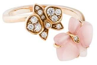 Cartier Diamond & Rose Quartz Caresse D'Orchidées Par Ring