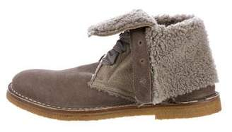 Brunello Cucinelli Shearling-Trimmed Ankle Boots