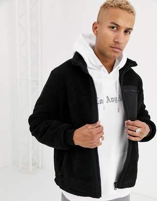 Asos Design DESIGN black zip through borg jacket with nylon pockets