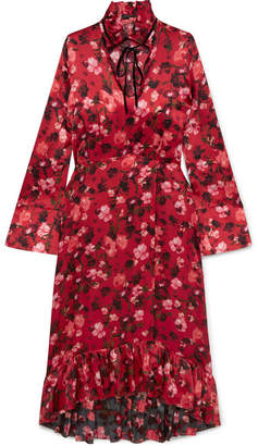 Mother of Pearl Adelaide Ruffled Floral-print Velvet-trimmed Silk-charmeuse Dress - Red