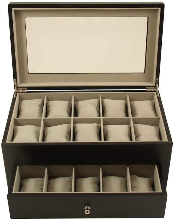 Bey Berk Wood 20-Slot Watch Storage Box - Men