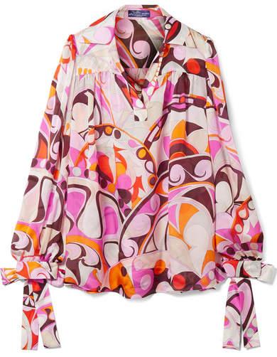 Emilio Pucci - Nigeria Printed Silk-chiffon Blouse - Pink