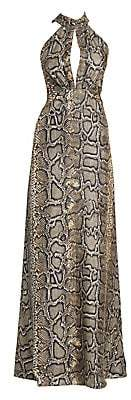 Victoria Beckham Women's Snake-Print Silk Halter Gown