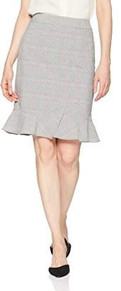 Tahari by Arthur S. Levine Women's Plaid Pencil Skirt with Ruffle Bottom