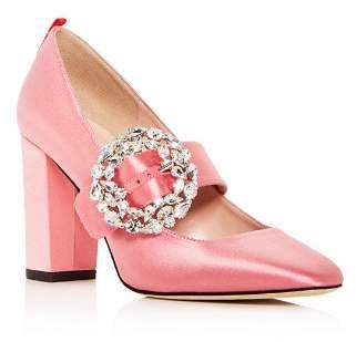 Sarah Jessica Parker Women's Celine Satin Mary Jane Block Heel Pumps
