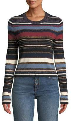 Veronica Beard Palmas Striped Metallic Cropped Sweater
