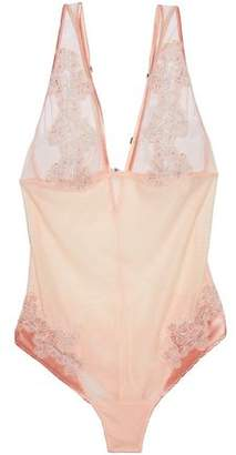 La Perla Lace And Satin-Trimmed Striped Mesh Bodysuit