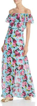 Betsey Johnson Drowning Roses Off-the-Shoulder Maxi Dress