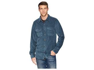 True Grit Best Stretch Cord Long Sleeve Two-Pocket Shirt with Contrast Chambray Trim