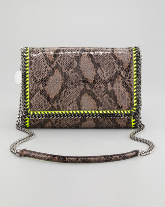 Stella McCartney Faux Python Falabella Shoulder Bag, Gray