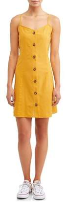 No Comment Juniors' Button Front Cami Dress With Princess Seams